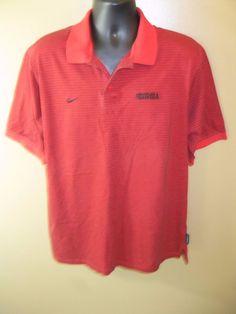 University of Georgia Red Striped Nike Polo Shirt Cotton Sz L #Nike #ShirtsTops
