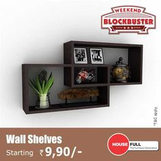#WallShelves - Stlyish and Practical the wall shelf adds a contemporary feel to the living room walls...