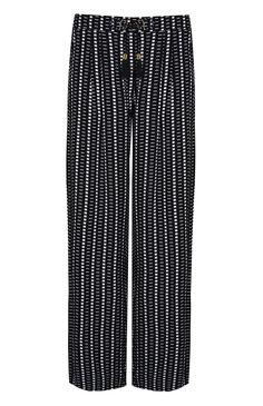 Calças padrão gráfico preto e branco