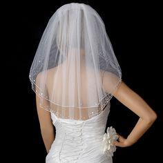 Shoulder Length Wedding Veil with Sequins and Pearls - Affordable Elegance Bridal -