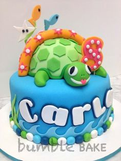 Double Chocolate cake with cream cheese buttercream filling for old Carla's birthday. She loves swimming with sea turtles, thus the sea theme. Take The Cake, Love Cake, Cake Icing, Fondant Cakes, Cupcakes, Cupcake Cakes, Mini Cakes, Double Chocolate Cake, Birtday Cake