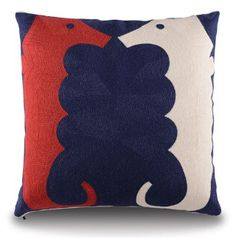 """Patriotic Seahorses"" FULLY EMBROIDERED Pillow Covers with hidden Zipper. Rich Navy background surrounded by a vivid red and white seahorse.what a way to celebrate and decorate for the summer ! Hunter Douglas, Navy Background, Seahorses, Coastal Homes, Custom Framing, All The Colors, Service Design, Design Projects, Pillow Covers"
