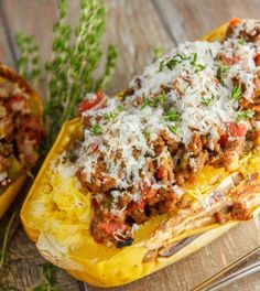 Stuffed Spaghetti Squash with Tomato and Ground Beef | 10 Healthy Ground Beef Recipes | Quick and Easy Dinner Ideas by Homemade Recipes at http://homemaderecipes.com/healthy-ground-beef-recipes/