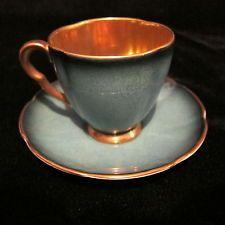 Vintage Carlton Ware England Bluish Green Demitasse Footed Tea Cup & Saucer