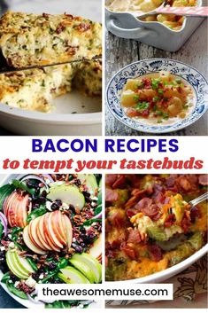 Recipes to Tempt Your Tastebuds - The Awesome Muse Everything's better with bacon. Tempt your taste buds with over 15 delicious bacon recipes like casseroles, quiche, salads, and more. You'll find some yummy dishes! Easy Bacon Recipes, Side Dish Recipes, Pork Recipes, Great Recipes, Dinner Recipes, Cooking Recipes, Healthy Recipes, Delicious Recipes, Appetizer Recipes
