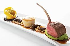 Entrée Splurge: Lamb tasting: roasted rack of lamb with truffle and fava bean purée, lamb tortellini with sautéed Swiss chard...