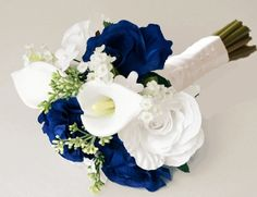 Silk Ivory White and Blue Roses Bouquet.