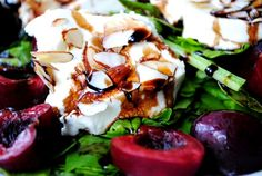 Almond-Crusted Warm Goat Cheese Spinach Salad w/Cherries - YUM! Toasted Almonds, Sliced Almonds, Warm Goat Cheese Salad, Salad Sandwich, 30 Minute Meals, Soup And Salad, Cherries, Iowa, Food Print