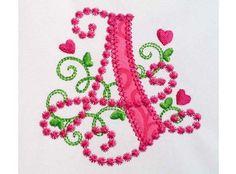 Cute Letter A Alphabet for Lil Princess Hearts  Applique Embroidery Design Monogram Initials Valentine's Day AppliqueDL058
