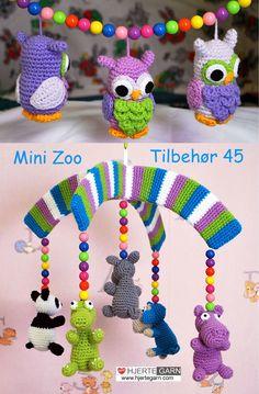 Hjertegarns Mini Zoo uro og ugle uro opskrift Hækles i Hjertegarns Blend