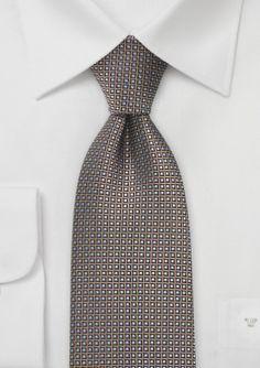 Designer Silk Tie in Copper, Black, Silver