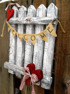 Valentines Day Heart Welcome Rustic Picket by SoPurdyCreations
