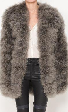 Gucci Grey fur jacket l Vaunte
