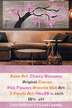 #Pink #CherryBlossom #Painting,#Asian Art, #Flower Art ,Cherry Tree Acrylic Painting, #3Panels, Pink Flower Tree , #Original Flower Art This Original Handmade Artwork brings colour and beauty to any room ;The chinese symbols represent good fortune and longevity  Materials: canvas, stretched on wooden frame, NO FRAMING REQUIRED (all canvas sides are painted)  Size: 3 panels of 16x20 in each, Total: 48x20 in Cherry Blossom Painting, Flower Tree, Abstract Paintings, Landscape Paintings, Abstract Art, Chinese Symbols, Cherry Tree, Flowering Trees, Diy Interior
