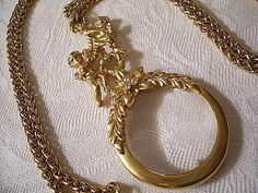 Angel Magnifying Glass Necklace Pendant Gold Tone Vintage Wreath Flowers Crystals