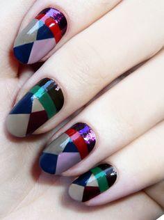 love these nails! Love this color Nail art nailed it. Love Nails, How To Do Nails, Pretty Nails, Fun Nails, Chic Nails, Fall Nail Art Designs, Nail Polish Designs, Color Block Nails, Geometric Nail Art