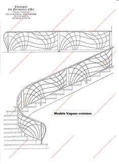 Rampes d'escalier en fer forgé Art nouveau : Modèle Vagues croisées Grill Gate, Art Nouveau, Stair Railing Design, Wall Design, Furniture Design, Stairs, Metals, Pattern, Bb