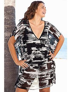Beach Belle Affinity Mesh Plus Size Caftan Tunic by Beach Belle