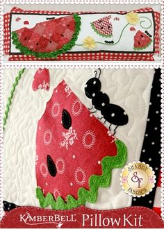 Kimberbell Pillow Kit (Pre-fused/Laser Cut) - Slice of Summer: The adorable Summer themed interchangeable pillow cover by Kimberbell Designs is perfect for August! Kit includes the pattern, all fabrics, embellishments and laser-cut applique pieces.