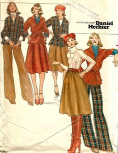 look Vintage Butterick 4369 UNCUT Misses Midi Skirt, Tunic Top, Straight Pants and Belt Sewing Pattern Size 12 Bust 34 by Daniel Hechter 70s Outfits, Vintage Outfits, Vintage Dresses, 60s And 70s Fashion, Retro Fashion, Vintage Fashion, Vintage Mode, Vintage 70s, Kleidung Design
