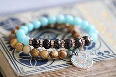 Picture Jasper Bracelet, 8mm, Copper Charm, Flower Charm, Botanical, Turquoise, Earthy, Bead Bracelet, 8mm, Stack Bracelet, Stretch Bracelet by DezineStudio on Etsy