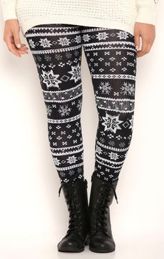 Details about Stretchy Snowflakes Print Winter Leggings Knit 1X 2X ...