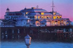 "Reflecting On Former Glories  The setting sun catches the broken glass in the windows of this once majestic structure gracing the ""Queen of Watering Places"": Brighton's West Pier.     philip Dunn  Painting by"