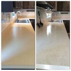 Painted my countertops with Rustoleum Countertop Coating. Applied 2 coats of whi… – Herzlich willkommen Countertop Redo, Painting Countertops, Kitchen Countertops, Kitchen Cabinets, Rustoleum Countertop Transformations, Spray Paint Countertops, Laminate Countertop, Laminate Cabinets, Painting Laminate