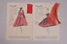 Christian Dior vellum stationery, for Moulin Rouge dress and coat with personal notes to client Brenda Schulman, each with swatch attached