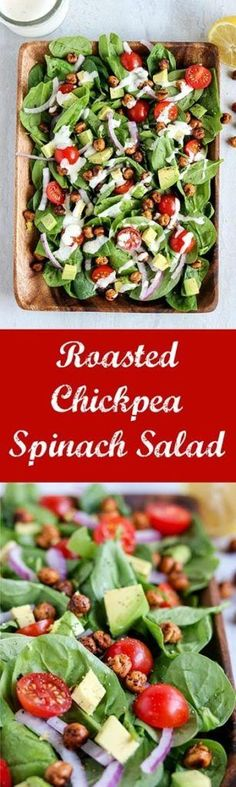 Roasted Chickpea Spinach Salad is light, healthy, vegetarian and gluten free! It packs a punch with a great combination of flavors and textures. Perfect as a complement to a main course dish, or on its own as a quick and easy lunch or dinner #chickpeas #spinach #avocado #tomatoes #roastedchickpeas #salad #vegetarian #glutenfree #meatless #meatlessmonday #karylskulinarykrusade