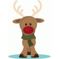 Silhouette Design Store: Red Nose Reindeer With Scarf Christmas Clipart, Diy Christmas Ornaments, Christmas Printables, Christmas Baby, Christmas Holidays, Red Nosed Reindeer, Nouvel An, Christmas Paintings, Christmas Illustration