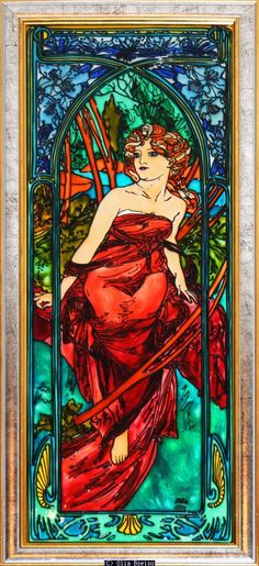 "Olia Bseiso - Morning This hand painted glass piece depicts Alphonse Mucha's ""Le Matin"". Art Nouveau."