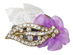 White Stone Studded Metal Leaf Brooch with Cloth Flower (Stone and Metal)