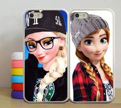 Disney Frozen Sisters Anna and Elsa Best Friend, Double Case Princesas Da Disney Punk, Punk Disney, Hipster Disney, Cute Cases, Cute Phone Cases, Iphone Cases, 4s Cases, Iphone 5s, Modern Day Disney