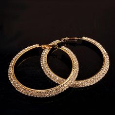 #RoseWholesale - #Rosewholesale Gold Plated Rhinestone Curved Big Circle Hoop Earrings - AdoreWe.com