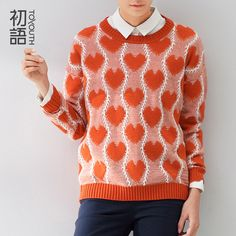 Toyouth 2015 Clothing Women Fashion Heart Pattern O-neck Pullover Knitted Pullover Sweater Tops
