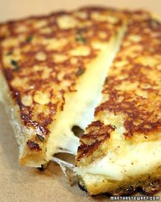 Grilled Mozzarella Sandwiches on garlic bread  serve with a side of marinara.