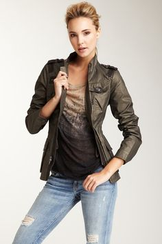Vince  Leather Trim Utility Jacket
