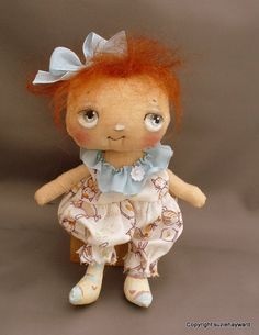 Baby red  haired cloth doll