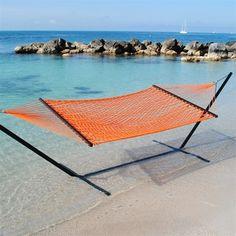Made In The Shade Hammocks - Caribbean Rope Hammock (Orange), $99.95 (http://www.madeintheshadehammocks.com/caribbean-rope-hammock-orange/) #ropehammocks #spreaderbarhammocks