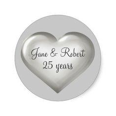25 Years Silver Glass Heart silver anniversary sticker.  Great party favor label. #heartwarestore =>  http://www.zazzle.com/25_years_silver_glass_heart_silver_anniversary_sticker-217708800312106061?CMPN=addthis&lang=en&rf=238590879371532555&tc=pin25thideassilverglasssticker