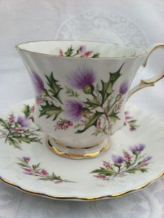 Queen Anne Fine Bone China England Tea Cup and Saucer  - Lochinvar Pattern.
