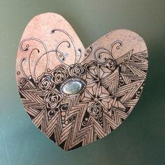 Zentangle hearts and gems