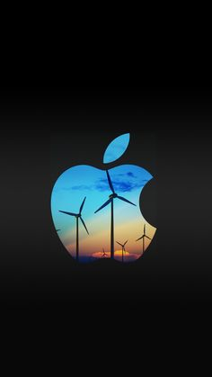 Wind Turbine + Apple Logo | free iPhone 6 wallpapers