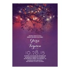 """Rustic tree branches & lights bridal shower 5"""" x 7"""" invitation card"""
