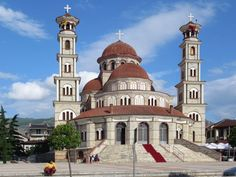 """Ringjallja e Krishtit"""" Orthodox Cathedral in Korce, Albania, was built with Greek money in replacing a church destroyed by the Communists. Albania, Taj Mahal, Cathedral, Greek, Southern, Money, Building, Silver, Greek Language"""