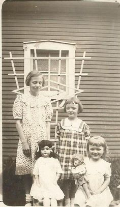 Antique vintage 1930s photo girl with composition Shirley type doll and bisque