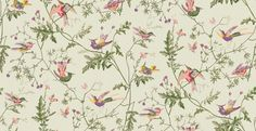 Hummingbirds Green Multi-Colour (100/14070) - Cole & Son Wallpapers - One of the most iconic designs from Cole & Son, the wallpaper has been re-introduced in two brand new colourways. The design features fluttering birds on delicate trailing foliage. Shown here in various colours on a green background. Other colourways are available. Please request a sample for a true colour match. Paste-the-wall product.