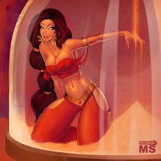 Sexy Princess Jasmine Pin Up   princess by msonia digital art drawings paintings people pin up ...