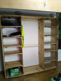Setting your living room with the brilliant designed wood pallet closet is another one of the best options for your house corner. This wood pallet closet is basically divided into two shelf portions for hanging clothes or supporting the footwear. It depends on your personal choice that how much quantity of the shelves you do want to add in the closet.